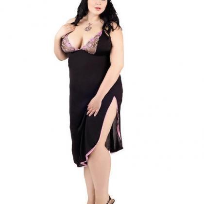 black plus size long chemise L XL 2..