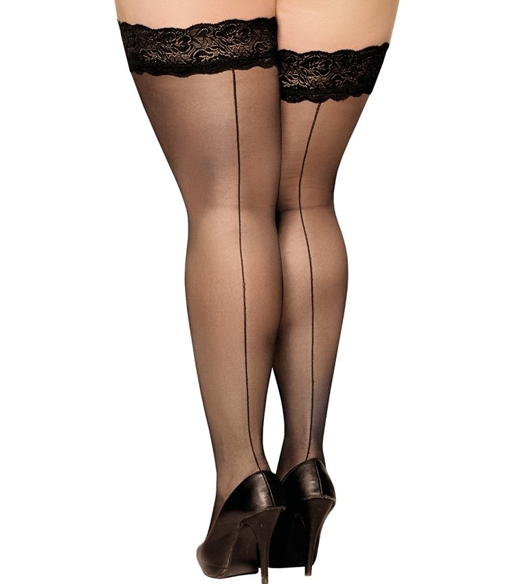 PLUS SIZE Lace 20 DEN Hold-Ups Stockings seamed 6XXXL seam at the back
