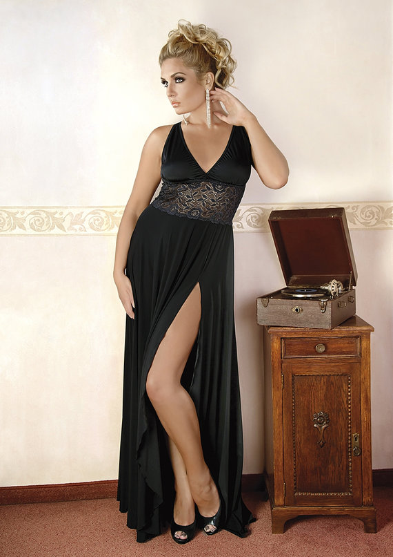 Sexy Lingerie Nightwear Elegant Black Long Dress Big Plus Queen Size