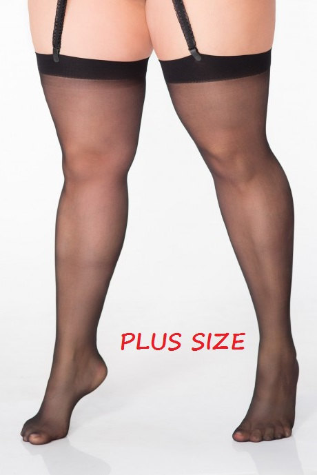 classic women stockings for garter belt 20 denier PLUS SIZE for bbw 5x 6x 7x 8x uk 24 26 28 30 eu 50 - 58