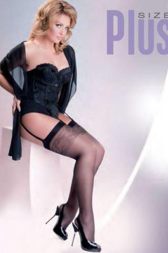 plus size stockings Sheer size 5-6 - XL XXL for garter belt classic curvy hosiery X 2X UK 14 - 18 eu 46 - 50