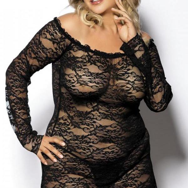 black sexy elastic lingerie dress chemise plus size 5X-6X