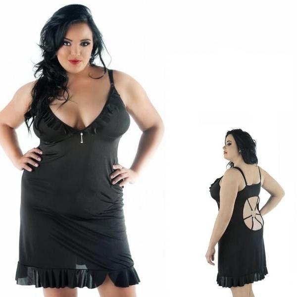 sensual plus size nightwear dress chemise L XL 2XL 3XL 4XL curvy lingerie full figured set