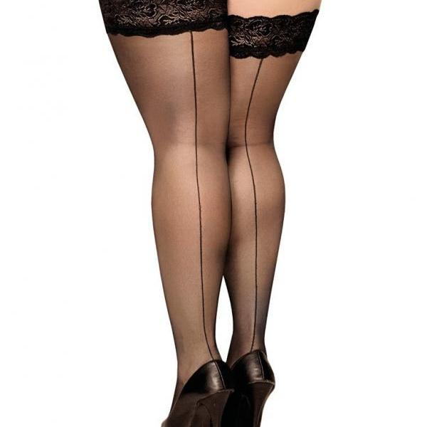 PLUS SIZE Lace 20 DEN Hold-Ups Stockings seamed 7 XXXXL seam at the back