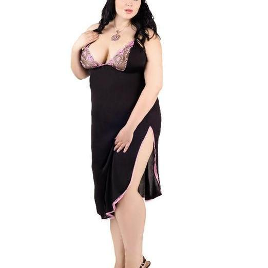 black plus size long chemise L XL 2XL 3XL 4XL EU 42-56 UK 10-14